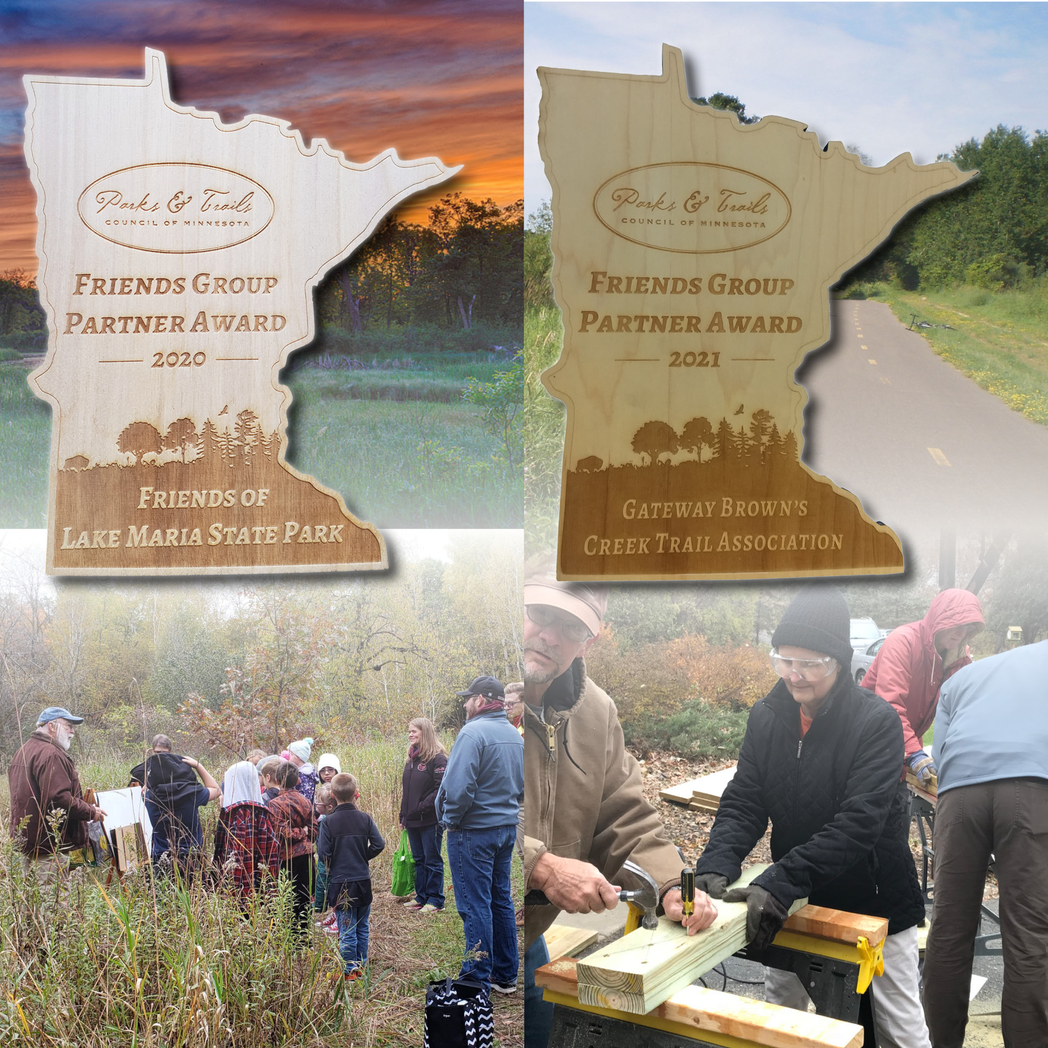 photo montage with wooden awards