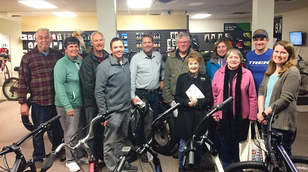 Group photo in a bike shop