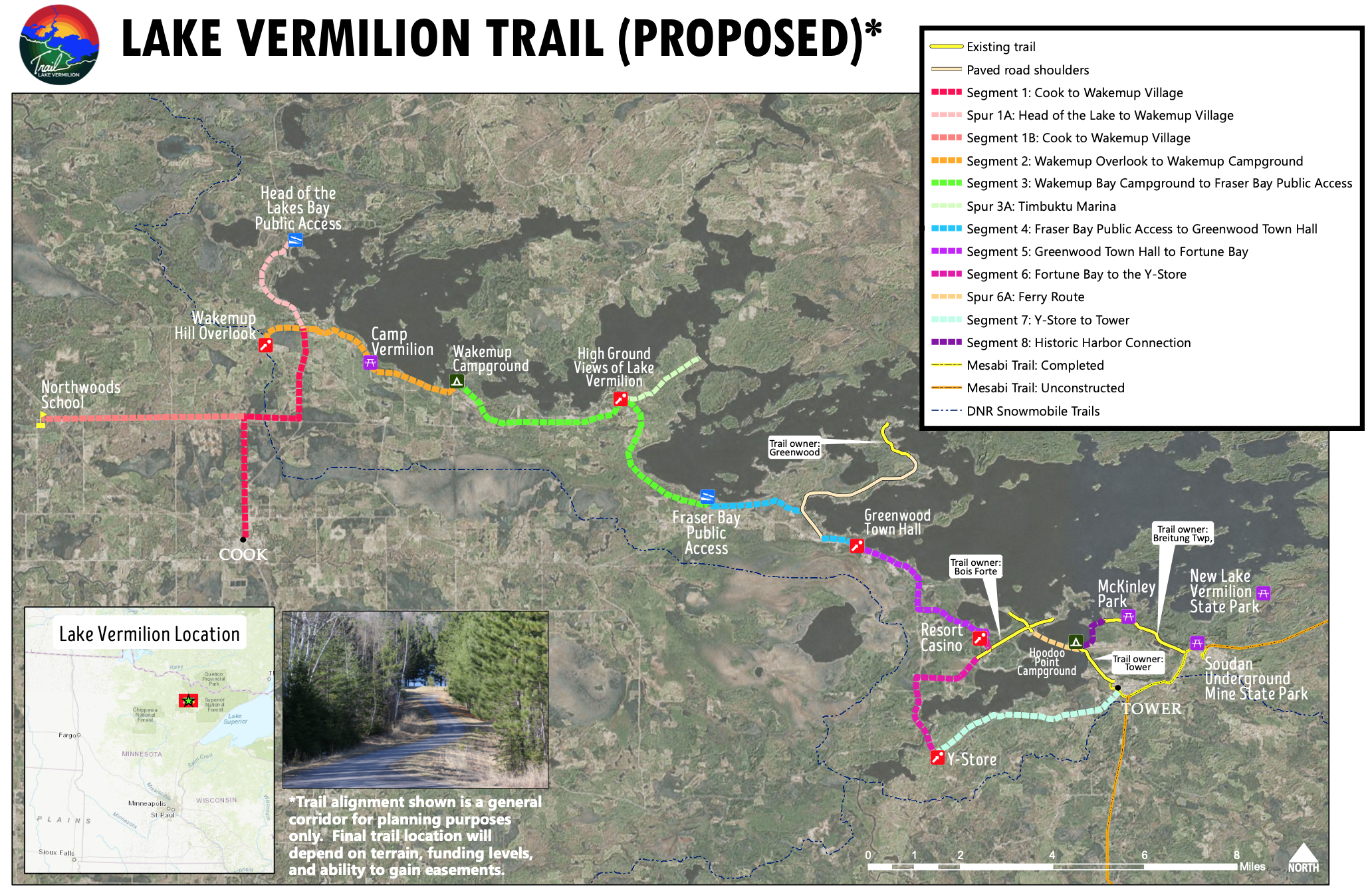 Map of proposed route for Lake Vermilion Trail with segments