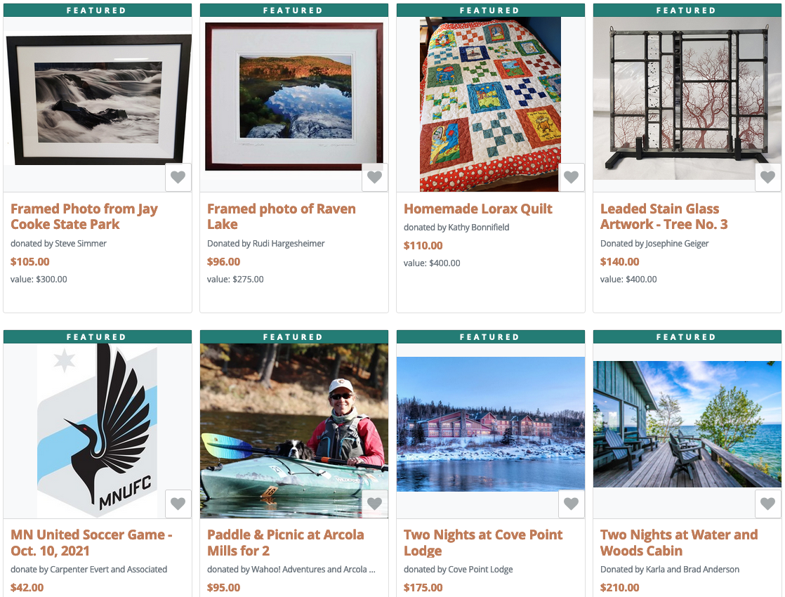 Screenshot of some of the online auction items