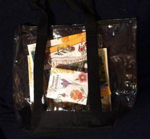 children's nature books in a clear bag