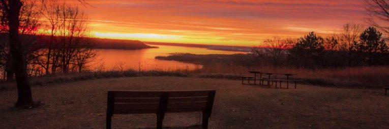 A stunning sunrise from the breathtaking vista of Frontenac State Park overlooking beautiful Lake Pepin