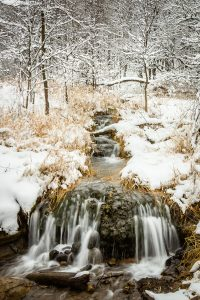 snowy river in Camden State Park