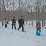 family snowshoes on a trail
