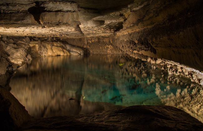 underground pond lit