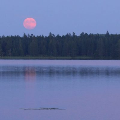 full moon over wolf lake
